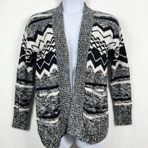 Mossimo Supply Co. Sweaters - Mossimo XL Cardigan Open Front Black White Knit